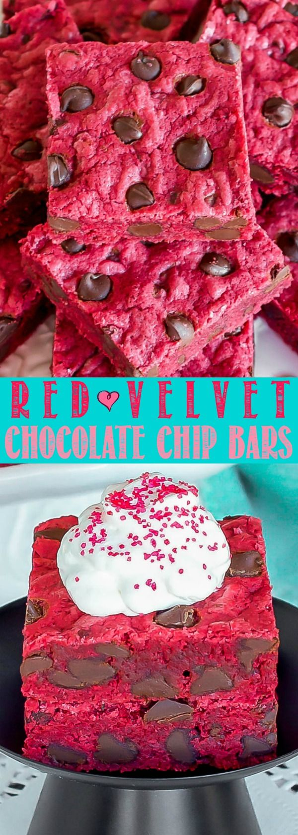 Red Velvet Chocolate Chip Bars are soft, chewy and loaded with chocolate! The perfect no-fuss dessert for Valentines Day, a birthday party, or just because!