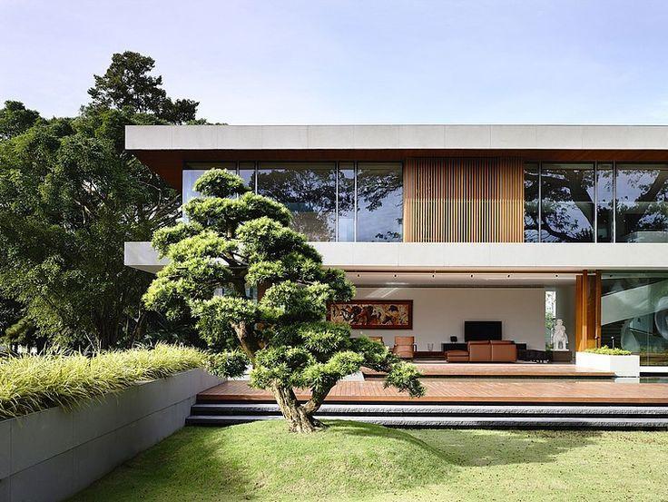 detalle de fachada con Luvs, detalle de terraza con gradas con jardín a desnivel