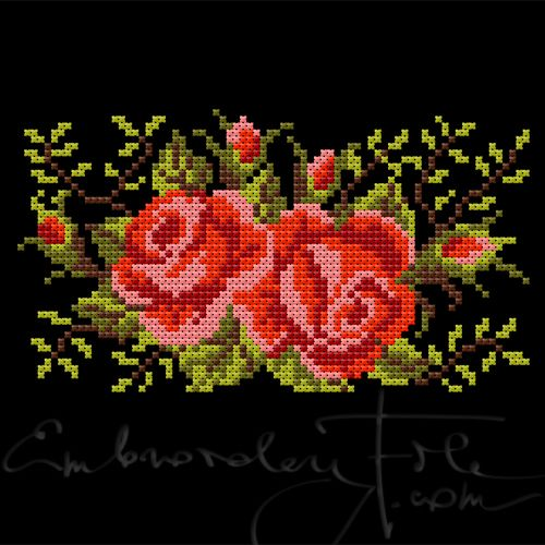 """Roses II C two parts for 4""""x4"""". Cross stitched roses, smaller version of Roses II B. The design is made of 2.3 mm double crosses. We have cut the file into two pieces, so you can embroider it with the 4""""x4"""" hoop. Combine with Roses I, Roses II A and Roses II B."""