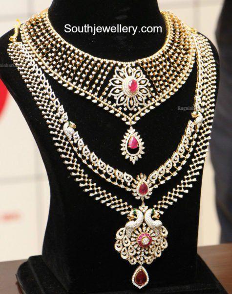 Diamond Necklace and Haram Set by Manepally photo