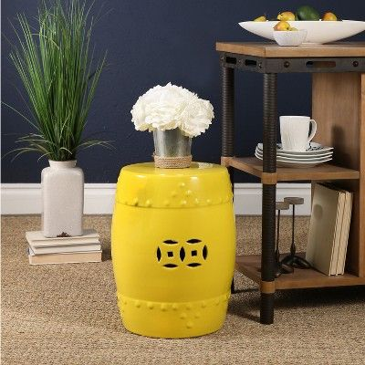Marcela Ceramic Garden Stool - Yellow - Abbyson