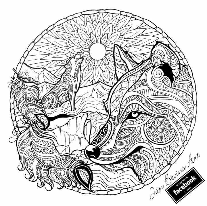 Adult Coloring Book Wolf On Hard Pages