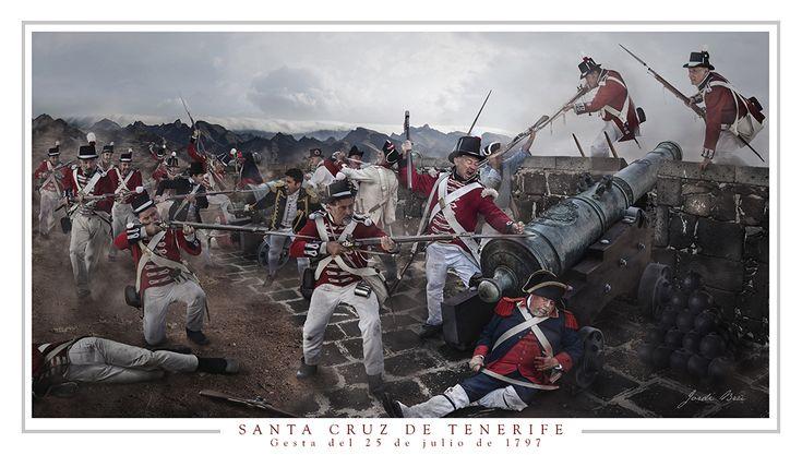 Tenerife. Gesta del 25 de julio de 1797. El día 20 de julio de 1797 se presenta, ante la costa de Santa Cruz de Santiago de Tenerife, una fuerza naval, mandada por el recién ascendido a contraalmirante Horacio Nelson, formada por 4 navíos de línea, 3 fragatas, 1 cutter y 1 bombarda  que transportan 3700 hombres armados y cuentan  en total con 393 cañones. Sus intenciones eran apoderarse de la Ciudad, la Isla y, posteriormente, toda Canarias.