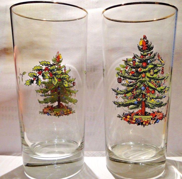 Spode Christmas Tree Glasses High Ball 12 Oz 6 14 Tall Two