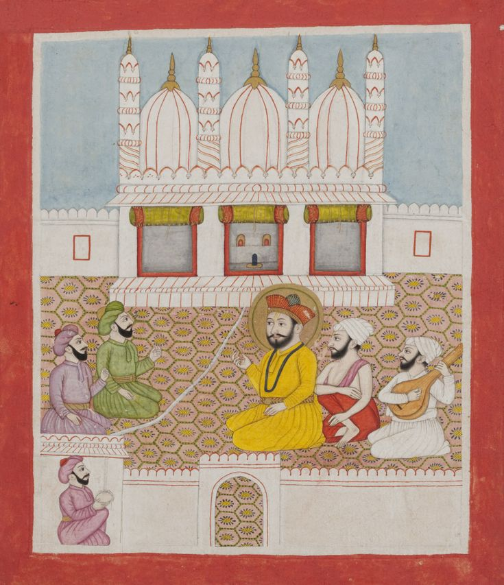 Guru Nanak and his disciples converse with Muslim clerics, from a manuscript of the Janam Sakhi. Approx. 1750-1800