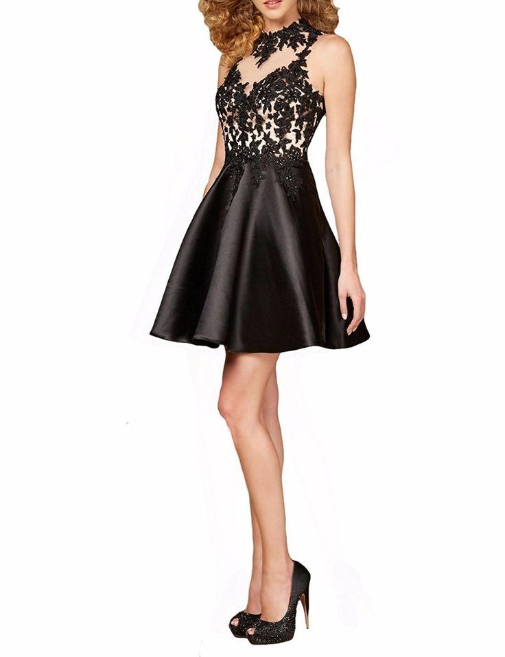 customise lace short black prom dresses sheer vestido de festa a-line junior party dresses black homecoming short prom dresses