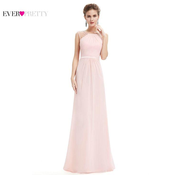 Bruidsmeisjekleding EP08742 Roze Perzik Vrouwen Elegante Chiffon Rijk Mouwloze Kant Plus Size Lange Bruidsmeisjekleding