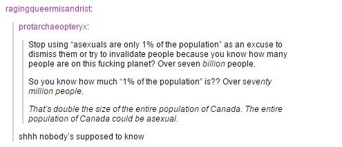 Stop using asexuals 1% of the population as an excuse, that's 70 million. All of Canada could be asexual.