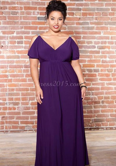 Spring/fall Short Sleeves A-line Long Chiffon Plus Size Bridesmaid Dress picture 3