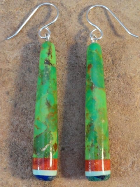 Ronald Chavez Dyed Mohave Turquoise Azurite & Apple Coral  Earrings $56.00