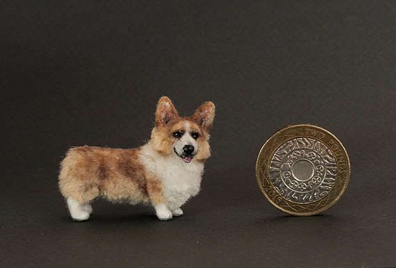 OOAK Dollhouse miniature dog  Welsh Corgi Pembroke 1:12