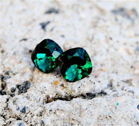 Vintage Emerald Green Square Studs  Swarovski Crystal by MASHUGANA, $16.50
