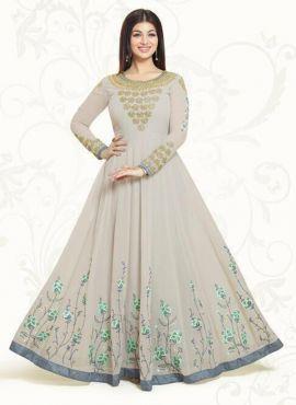 Grey Indian Designer floor length Anarkali salwar suit