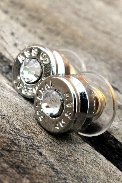 Want these!!!!!!Silver Crystal Bullet Stud Earrings