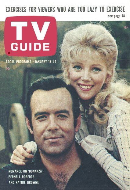 """TV Guide, January 18, 1964 - Pernell Roberts and Kathie Browne of """"Bonanza"""""""