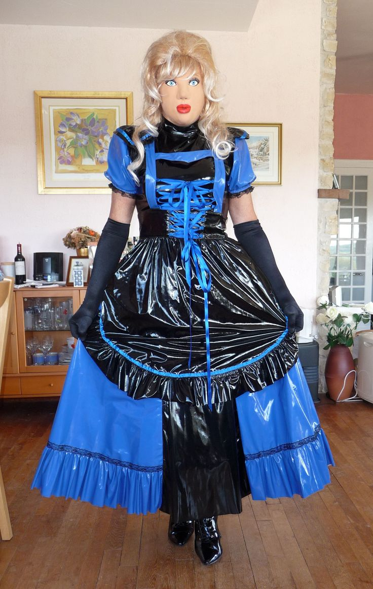 New blue and black PVC dress. So pretty, so sissy and so noisy.