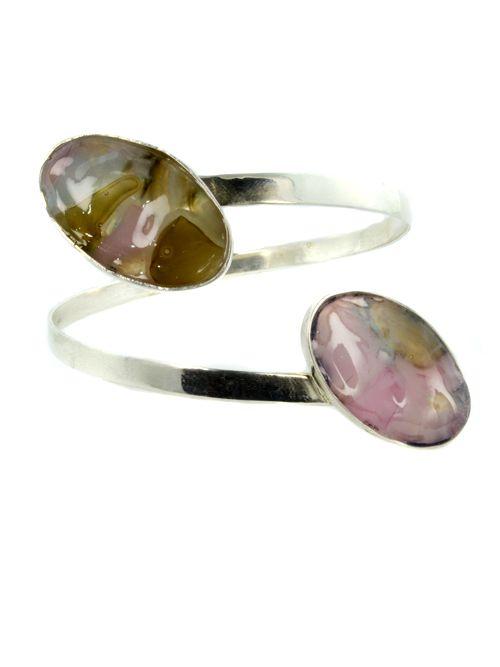 Oval Bracelet with Glass