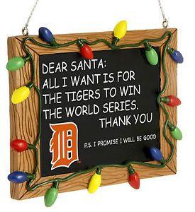 Detroit Tigers Xmas Tree Ornament Chalkboard All I Want Is Win The World Series