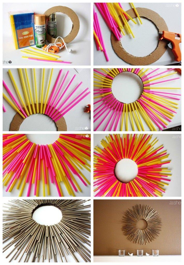 DIY drinking straw sunburst frame