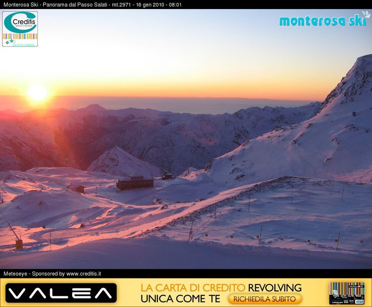 Monterosa Ski Resort, sunrise from Passo Salati. Meteoeye webcam shot.