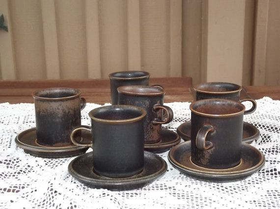 Six Vintage Ruska Arabia Finland Mocca Coffee Cups by Deccorista