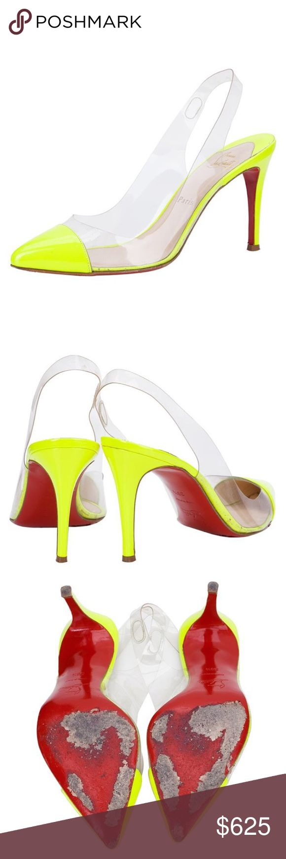 Neon Yellow Authentic Christian Louboutin Heels Flaws shown in picture. Good condition. 100% Authentic Christian Louboutin Shoes Heels