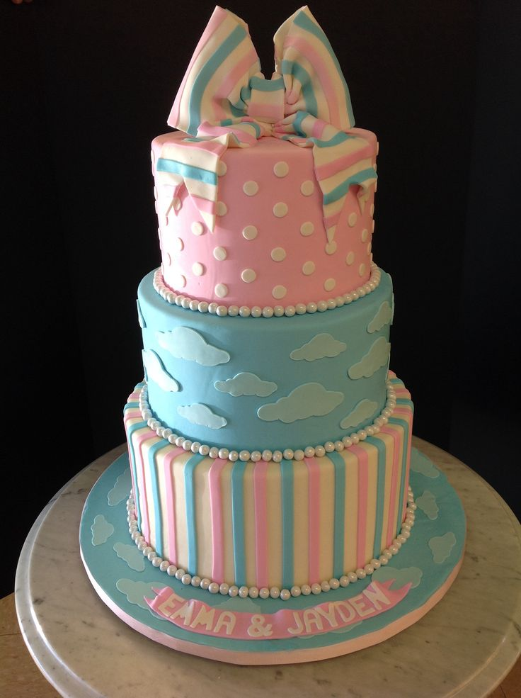Twin Boy And Girl Baby Shower Cake  Twin Baby Shower Cake -9082