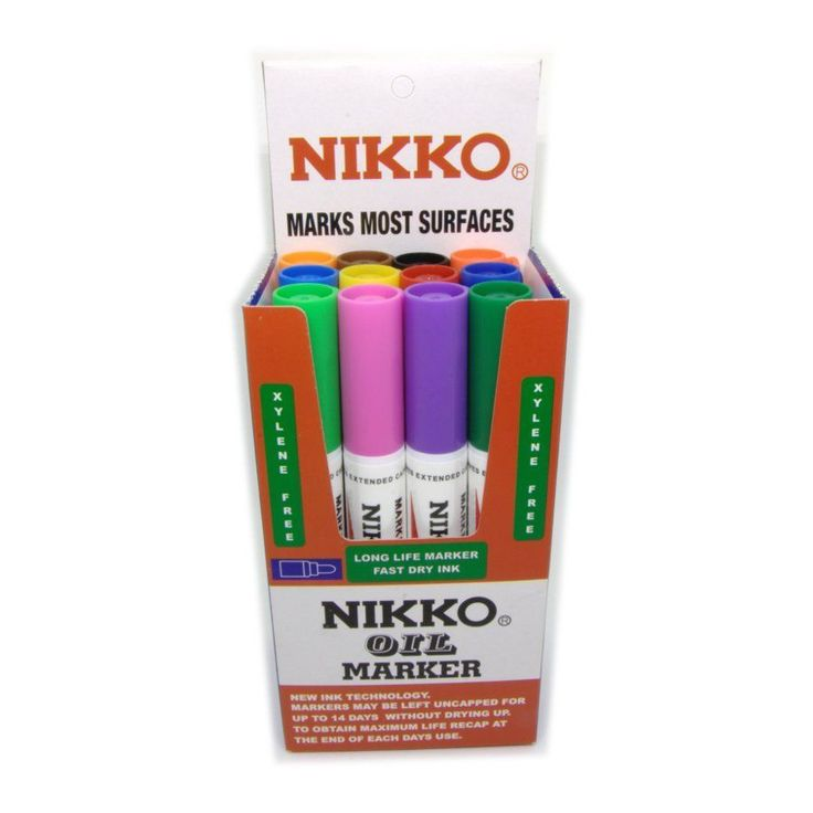 Nikko permanent oil markers. Writes on most surfaces. The original Nikko Marker – still the best with new ink technology.      Extended cap off time – ink will not dry out if left uncapped for up to seven days.     Fast drying water proof ink.     Marks on most surfaces including glass, plastic, metal, wood, paper.     Does not contain xylene.     Will not smudge.     Recap pen firmly after use for longer life.