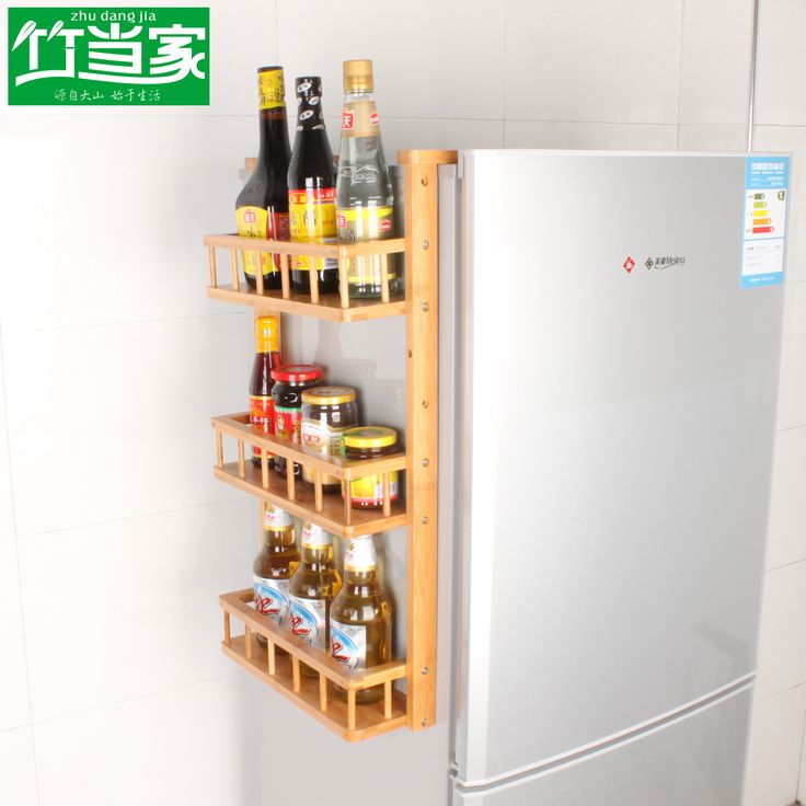 Bamboo Bamboo Refrigerator Rack Wall Mount Storage Rack