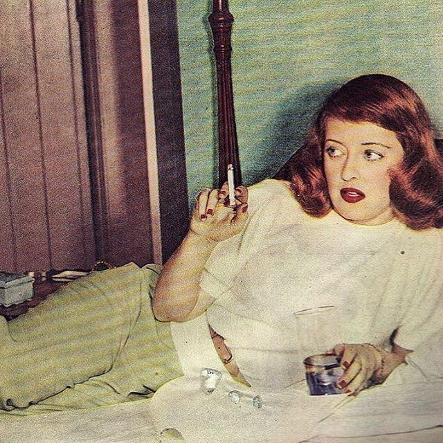 Color shot of Bette Davis on the set of A STOLEN LIFE 1946