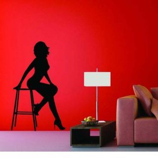 Наклейка по тематике от 2stick.ru Элегантная девушка сидит на стуле