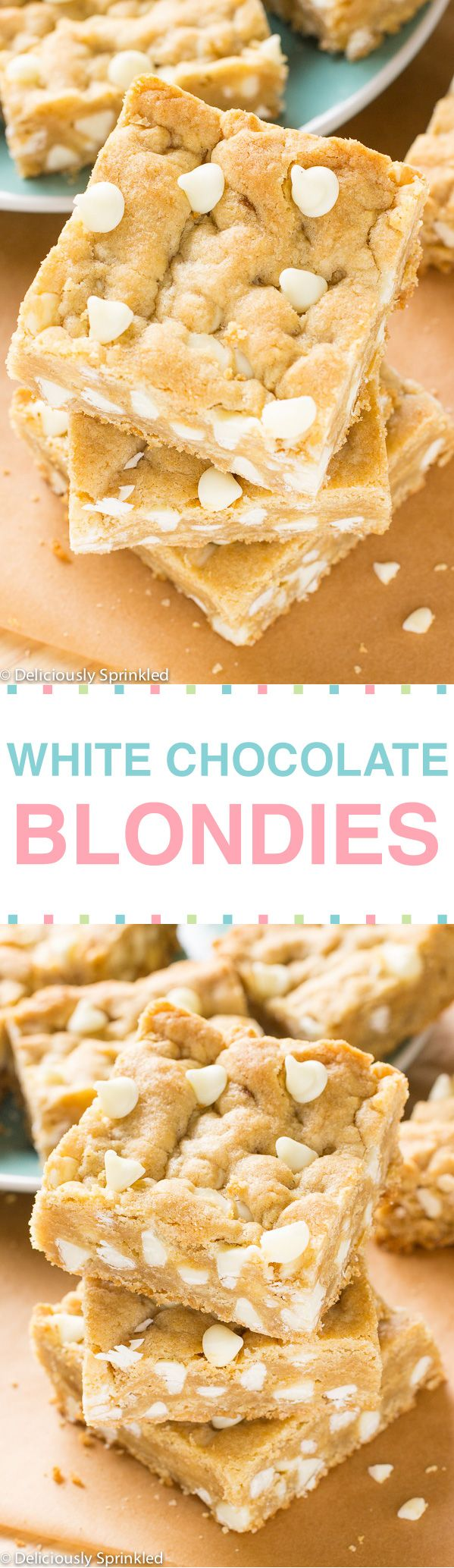 White Chocolate Blondies -- These delicious White Chocolate Blondies are soft, chewy and loaded with white chocolate chips