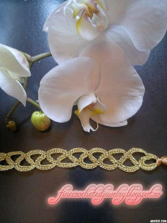 Crocheted golden lace bracelet