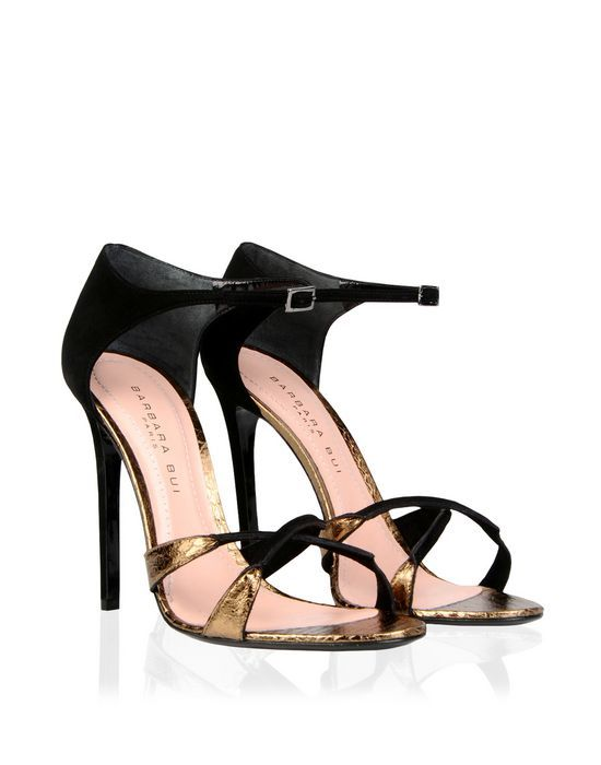 Barbara Bui new Pre Fall 2014 sandals in black suede and gold elaphe ·  Suede SandalsWomen's ...