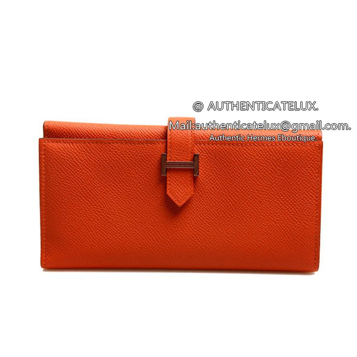 Hermes Paris Tri Fold Wallet Round Clasp