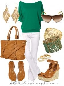 Colors Combos, Fashion, Summer Outfit, Style, Clothing, Green, White Pants, Work Outfit, White Jeans