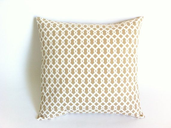 Throw Pillow Covers 26x26 : Euro Sham: Beige and Ivory Trellis Decorative Throw Zipper Pillow Cover Print Made to fit on ...