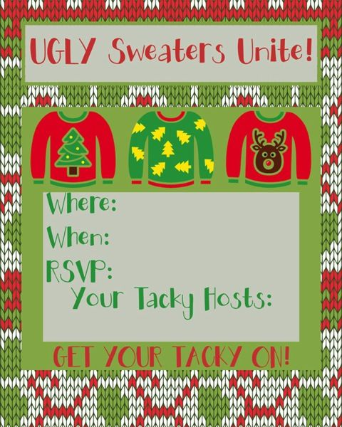 Ugly Sweater Party Time Free Printable Invites And More Holiday