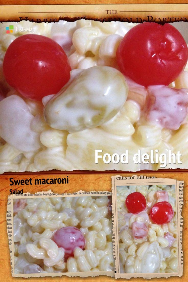 Sweet macaroni salad-Filipino style.  One of Filipino's favorite dish