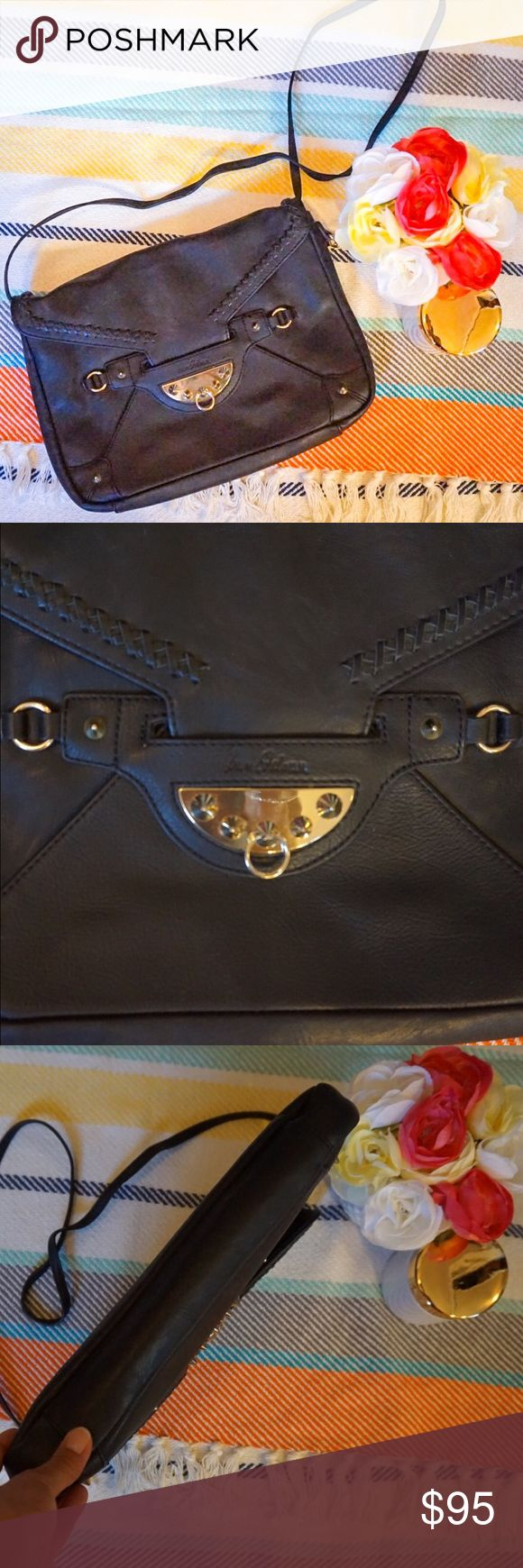 """🎉Sale🎉 Sam Edelman large envelope clutch Sam Edelman Marais Blair large envelope clutch. Studded accents make quite a statement on this beautiful leather bag. Long strap, can be used as cross-body bag.  Light wear on strap from where it had been tied to shorten length of strap. Not noticeable but I like to disclose anyway. Excellent used condition. Approx 13"""" wide, 10"""" high Bags Crossbody Bags"""