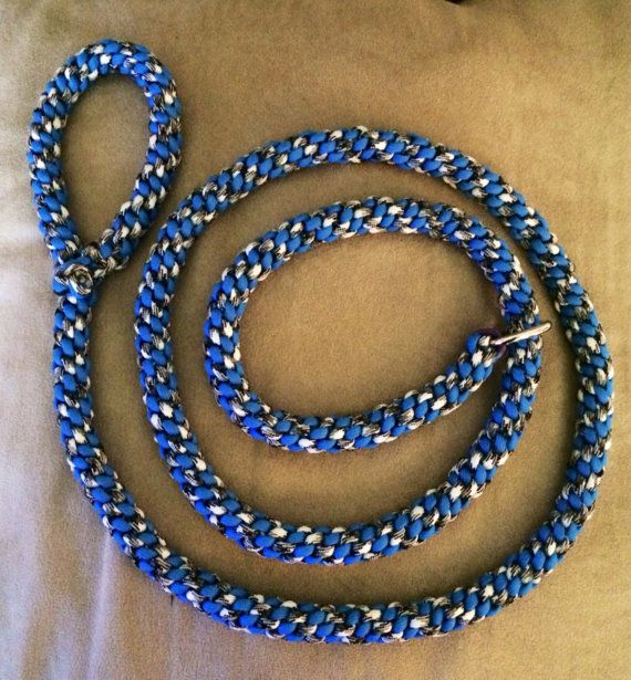 5 1/2 foot paracord dog slip lead in blue and by FivePawsFashion, $15.00