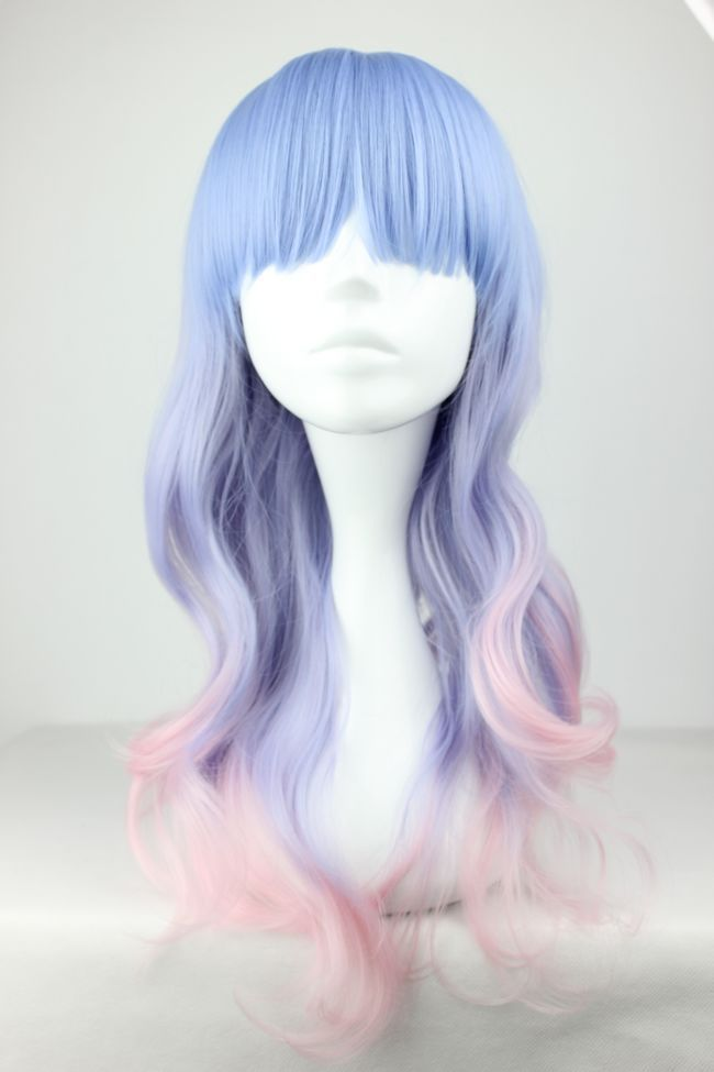 55cm Long Multi Color Beautiful lolita wig Anime Wig-in Cosplay Wigs from Beauty  Health on Aliexpress.com $14.39