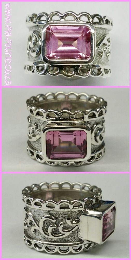 Bespoke design / special order ring pink gemstone in sterling silver setting  - Fia Fourie