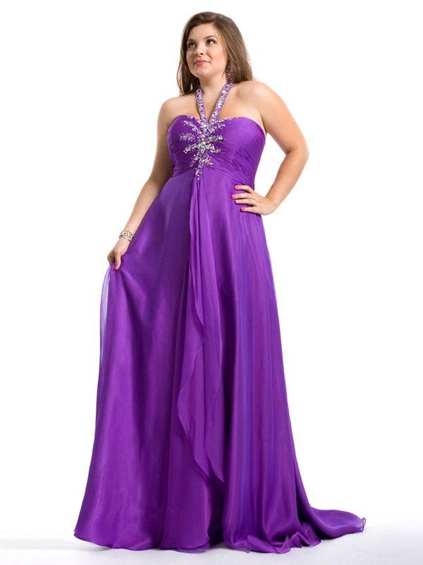 empire halter white chiffon floor prom dress