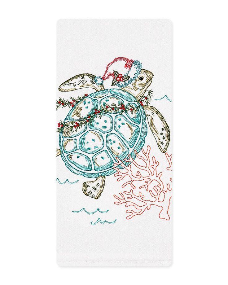 Kay Dee Designs Christmas Sea Turtle Flour Sack Towel | Kitchen Towel | cotton