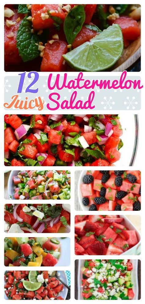 12 Juicy and Healthy Homemade Watermelon Salad Recipes. Watermelon salad with feta cheese, Summer cucumber tomato. And grilled mint spicy . Strawberry Watermelon Lime dressing.