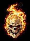 Ícone do crânio de ouro. tatuagem de ornamento de fogo — Vetor de Stock
