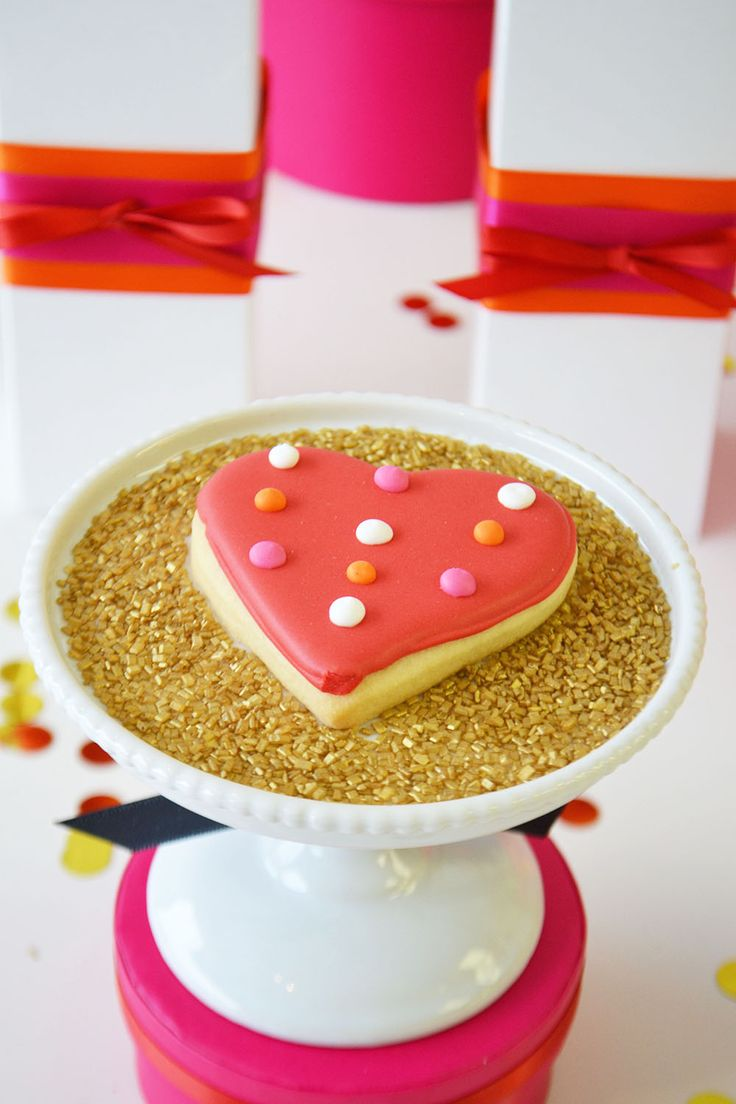Polka dot heart sugar cookie for Valentine's by Bake Sale Toronto.
