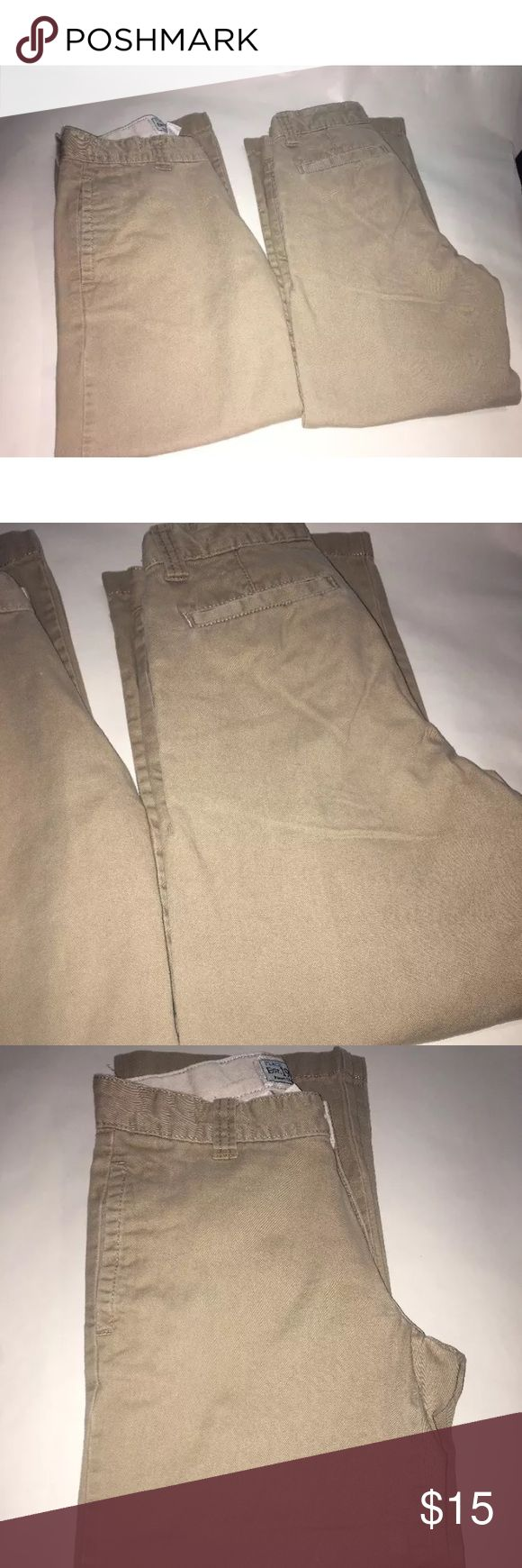 The children's place girls khaki pants lot of 2 The Toyota place girls pants lot of 2 khaki school uniform pants size 7 inseam 21 inches The Children's Place Bottoms