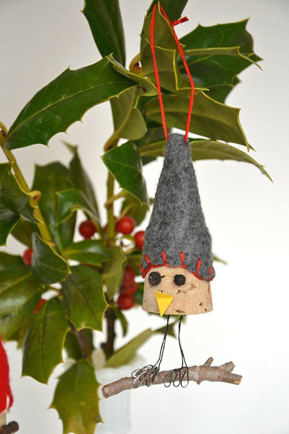 Bird Wine Cork Ornament by WhatsUrHomeStory on Etsy, $10.00